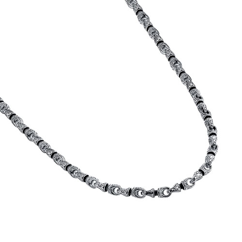 TWISTED BLADE SILVER NECKLACE WITH INTRICATE ENGRAVED COUPLINGS