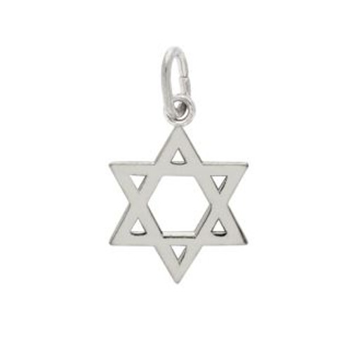 RHODIUM PLATED HIGH POLISHED STAR OF DAVID CHARM