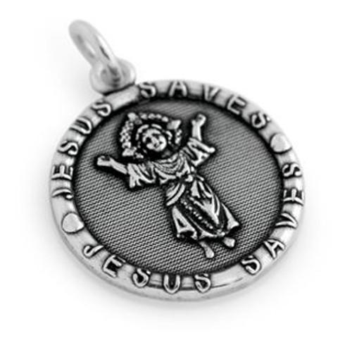 JESUS SAVES ROUND BABY JESUS RELIGIOUS CHARM-PENDANT