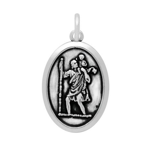 SAINT CHRISTOPHER PRAY FOR US  OVAL CHARM