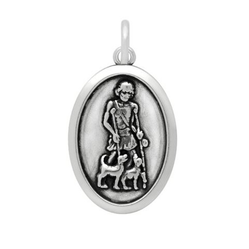 SAINT LAZARUS PRAY FOR US OVAL CHARM