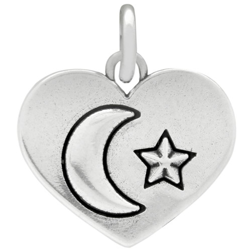 MOON AND STAR SILVER HEART CHARM