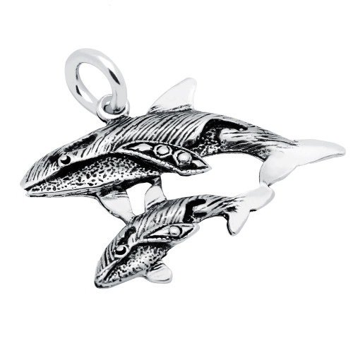 WHALE AND CALF CHARM