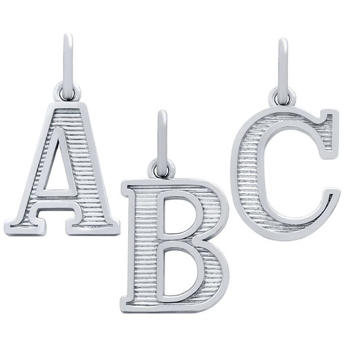 RHODIUM PLATED UPPERCASE INITIALS CHARM