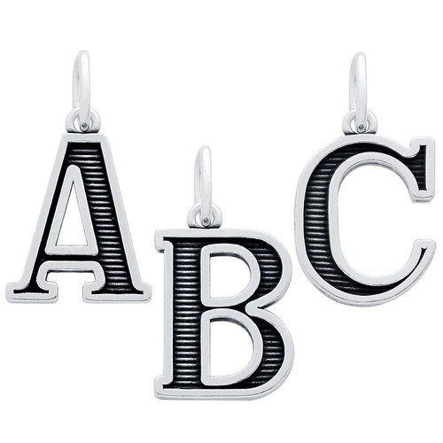 OXIDIZED STERLING SILVER UPPERCASE INITIALS CHARM