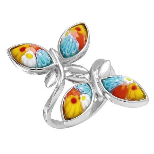 MULTICOLOR MURANO MILLEFIORI DOUBLE BUTTERFLY RING