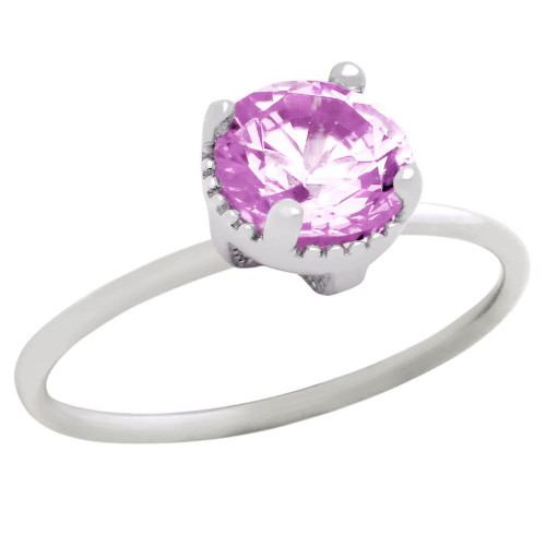 RHODIUM PLATED OCTOBER BIRTHSTONE TOURMALINE PINK ROUND CZ RING