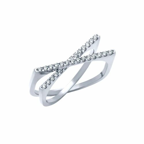 "RHODIUM PLATED SPLIT-DOUBLE-SHANK ""X"" RING WITH CZ PAVE"