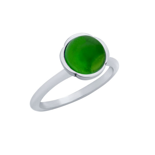 STERLING SILVER RING WITH 8MM CABOCHON EMERALD