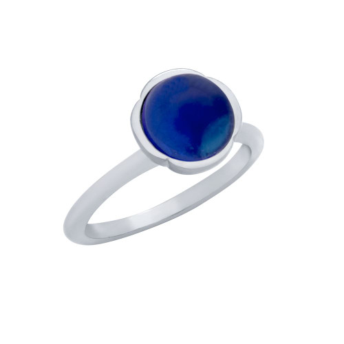 RHODIUM PLATED RING WITH 8MM CABOCHON SAPPHIRE