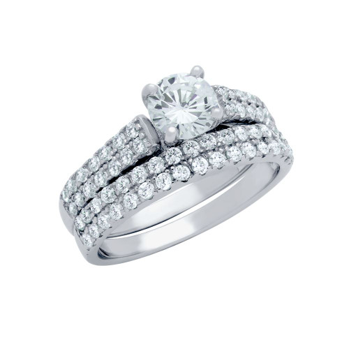 RHODIUM PLATED DOUBLE ROW CZ WEDDING SET