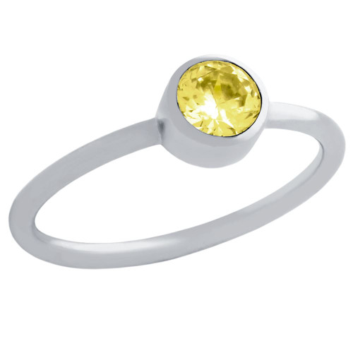 5MM SWAROVSKI YELLOW CZ BEZEL SET STACKABLE BAND RING