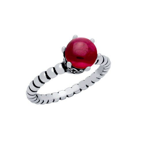 STERLING SILVER BEAD DESIGN RING WITH 5MM PRONG SET CABOCHON RUBY