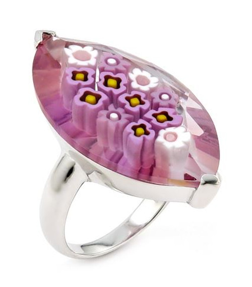 MURANO MILLEFIORI FACETED PINK 18X32MM MARQUISE SHAPE RING