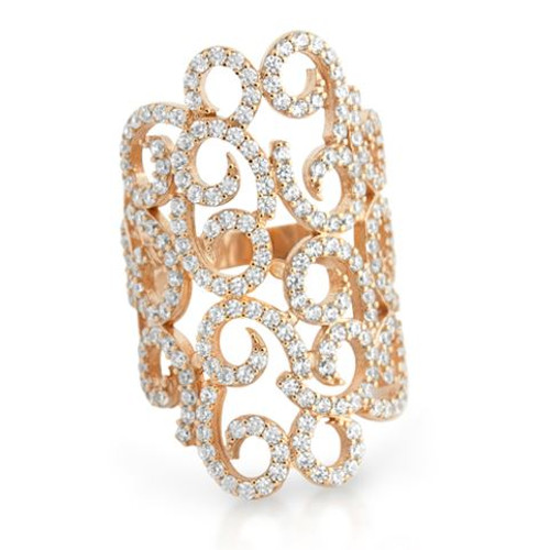 INTRICATE CURL DESIGN ROSE GOLD PLATED CZ RING