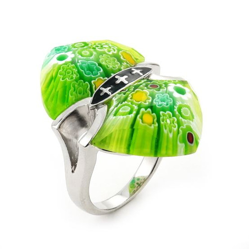 MURANO MILLEFIORI FACETED GREEN RING WITH CROSS ACCENTS