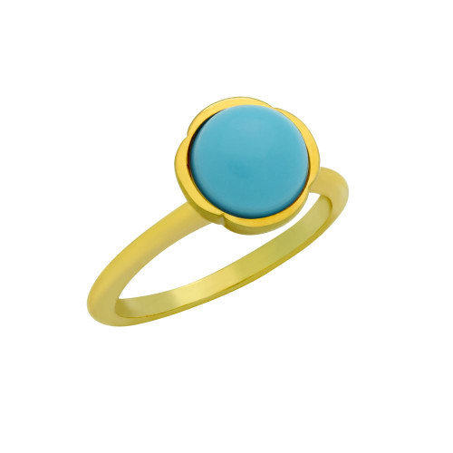 GOLD PLATED RING WITH 8MM CABOCHON TURQUOISE