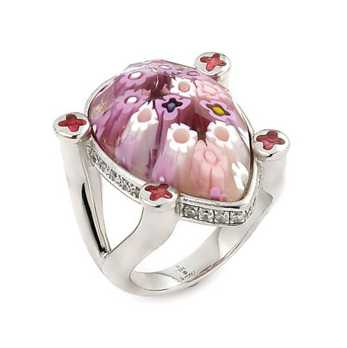 EXQUISITE COLLECTION FACETED PINK MURANO GLASS DROP RING WITH HIGH QUALITY CZ MICROSETTING