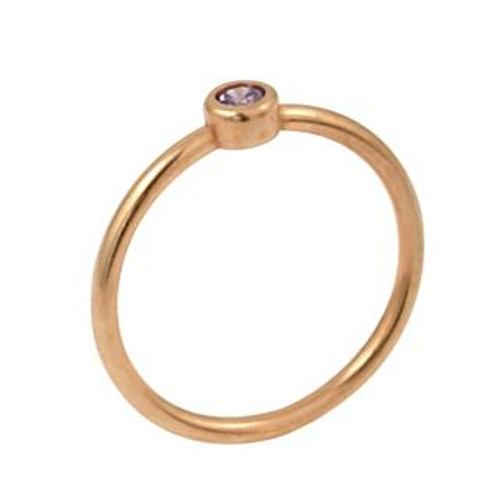 ROSE GOLD PLATED 3MM PURPLE SWAROVSKI CZ STACKABLE BAND RING