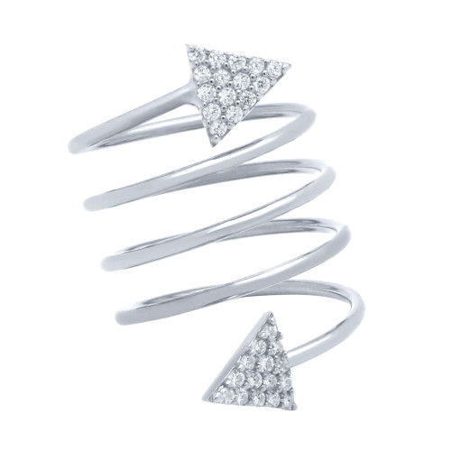 "RHODIUM PLATED SPIRAL ""SPRING RING"" WITH CZ PAVE TRIANGLES"