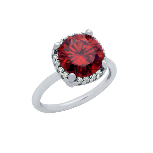 RHODIUM PLATED RED 9MM ROUND CZ RING WITH SQUARE DESIGN SURROUNDING CLEAR CZ STONES