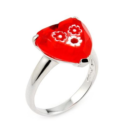 MURANO MILLEFIORI  16MM FACETED RED HEART RING