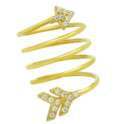 "GOLD PLATED SPIRAL ""SPRING RING"" WITH CZ PAVE ARROW HEAD AND TAIL"