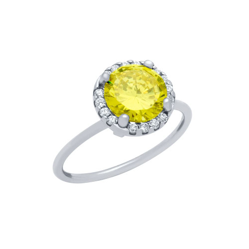 RHODIUM PLATED CANARY YELLOW ROUND CZ RING WITH SURROUNDING CLEAR CZ STONES