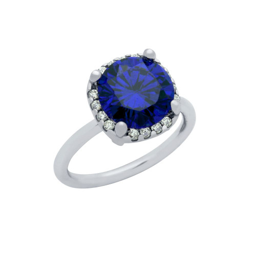 RHODIUM PLATED BLUE 8MM ROUND CZ RING WITH SQUARE DESIGN SURROUNDING CLEAR CZ STONES