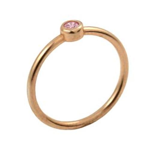 ROSE GOLD PLATED 3MM SWAROVSKI PINK CZ BEZEL SET STACKABLE BAND RING