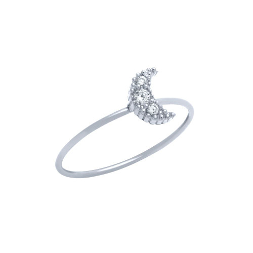 RHODIUM PLATED PAVE CLEAR CZ MOON STACKABLE RING