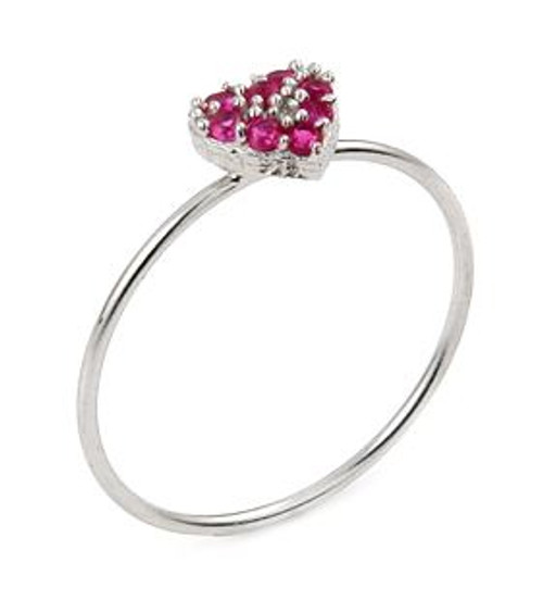 PAVE PINK CZ HEART STACKABLE RING