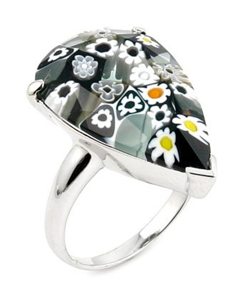 MURANO MILLEFIORI FACETED BLACK AND WHITE 14x22MM DROP SHAPE RING