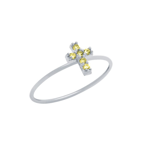 PAVE YELLOW CZ CROSS STACKABLE RING