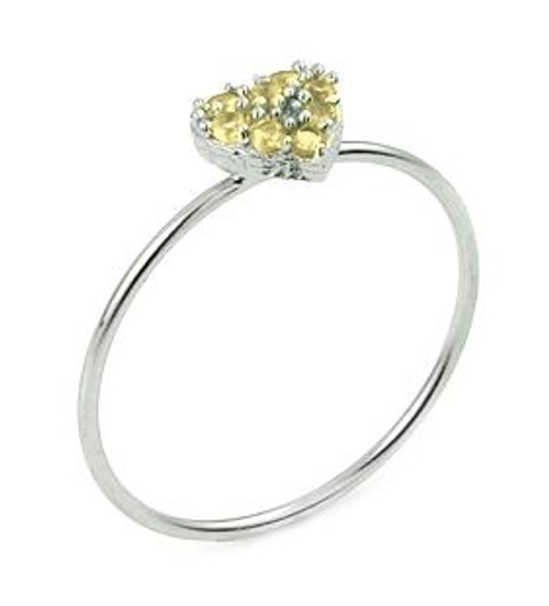 PAVE YELLOW CZ HEART STACKABLE RING