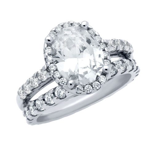 RHODIUM PLATED OVAL CZ RING AND ETERNITY BAND WEDDING SET