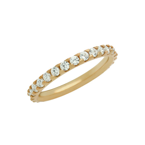 ROSE GOLD PLATED ETERNITY WHITE CZ STACKABLE BAND RING