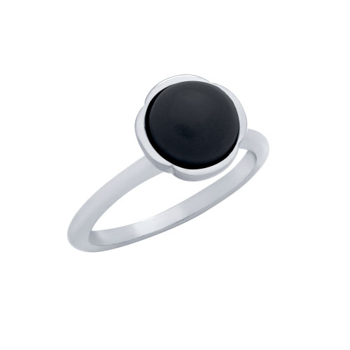 RHODIUM PLATED RING WITH 8MM CABOCHON ONYX