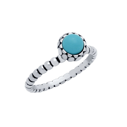 STERLING SILVER BEAD DESIGN RING WITH 5MM CABOCHON TURQUOISE