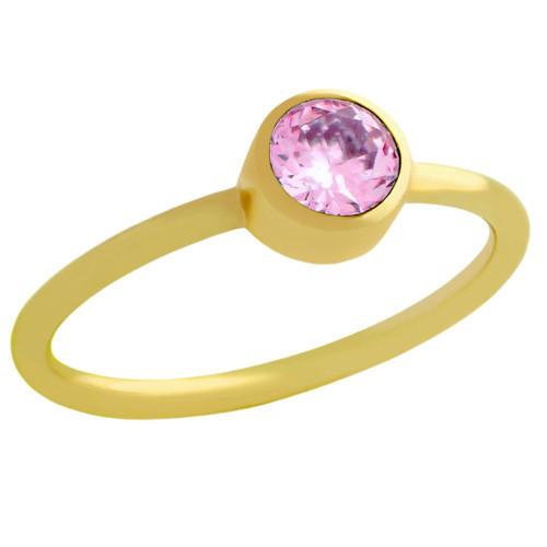 GOLD PLATED 5MM PINK SWAROVSKI CZ STACKABLE BAND RING