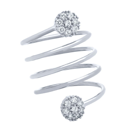 "RHODIUM PLATED SPIRAL ""SPRING RING"" WITH ROUND CZ CLUSTERS"
