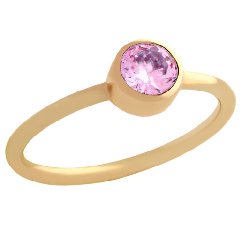 ROSE GOLD PLATED 5MM PINK SWAROVSKI CZ STACKABLE BAND RING
