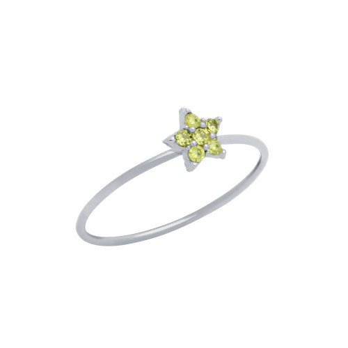 PAVE YELLOW CZ STAR STACKABLE RING