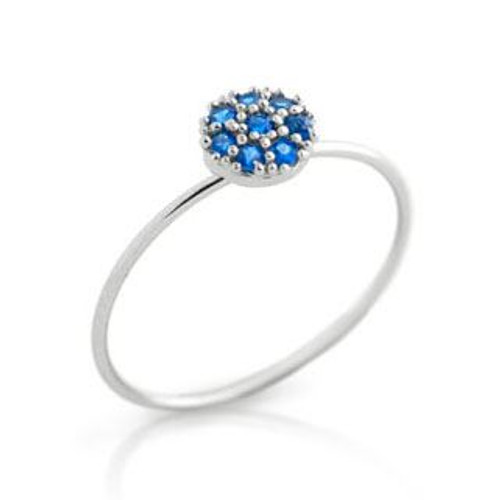 PAVE BLUE CZ ROUND STACKABLE RING