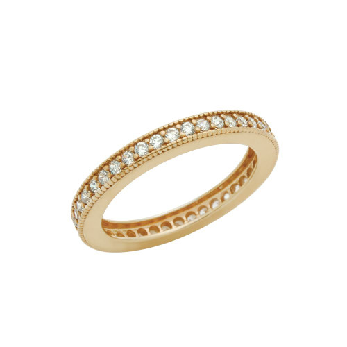 ROSE GOLD PLATED 1.75MM CZ ETERNITY BAND RING
