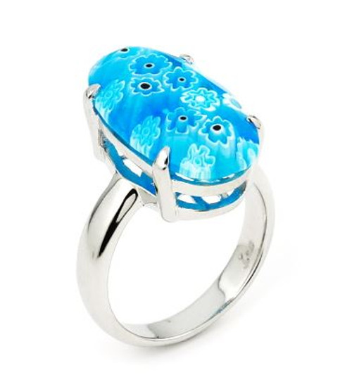 MURANO MILLEFIORI FACETED LIGHT BLUE 10x20MM OVAL RING