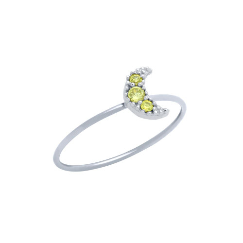 PAVE YELLOW CZ MOON STACKABLE RING