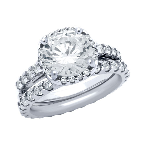 RHODIUM PLATED SQUARE CZ RING AND ETERNITY BAND WEDDING SET