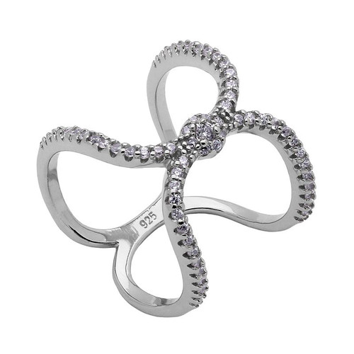 RHODIUM PLATED DOUBLE LOOP CZ PAVE RING