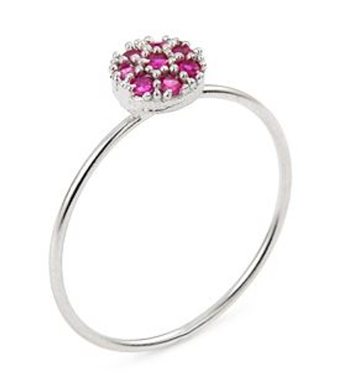 PAVE PINK CZ ROUND STACKABLE RING